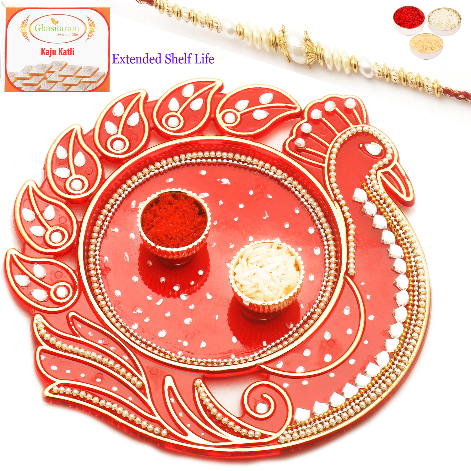 Reflection of Love with Red Pearl Rakhi n 200Gm Soan Papdi