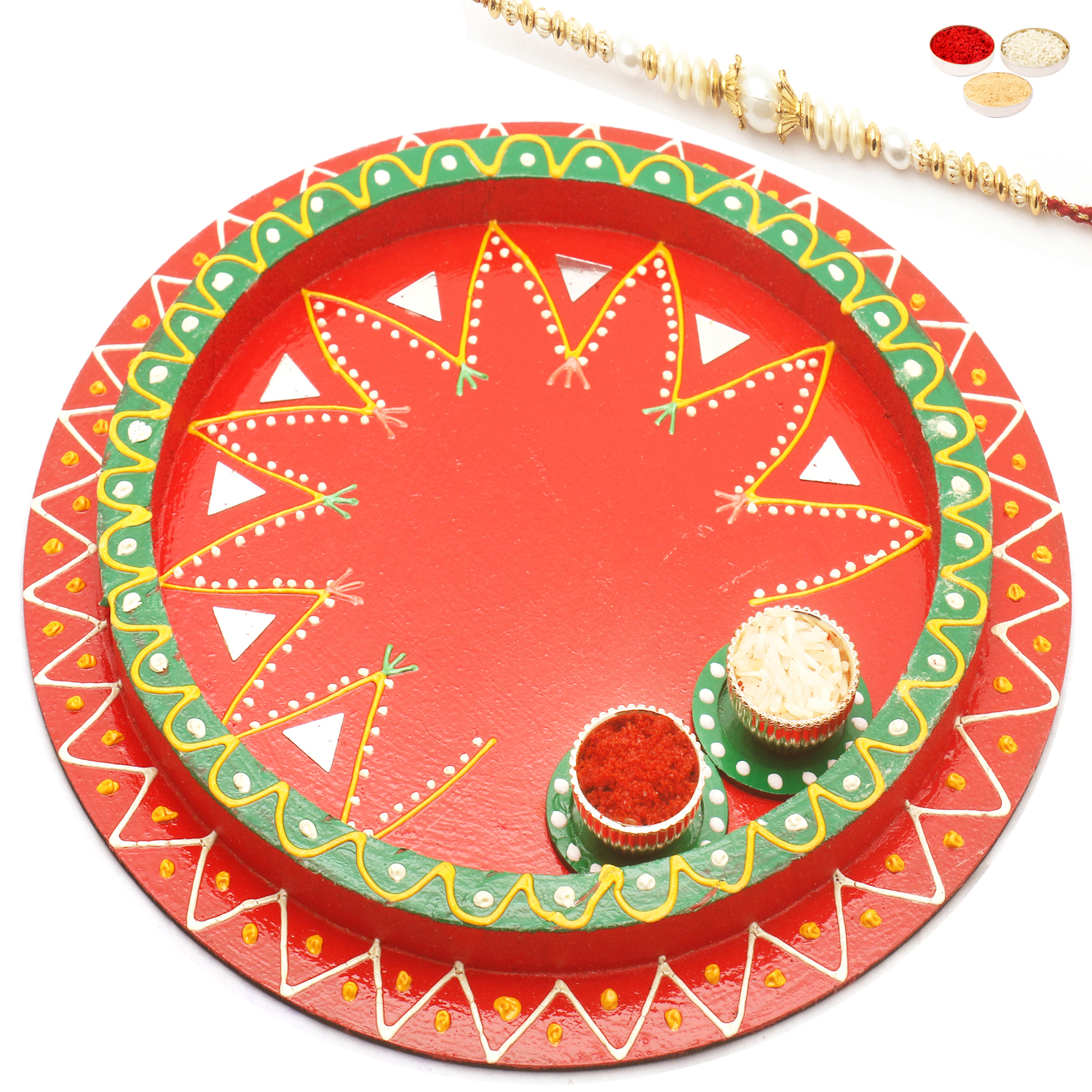 Reflection of Love with Red Pearl Rakhi