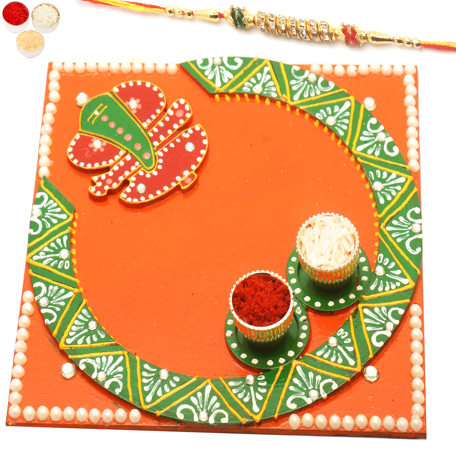 Siddhi Vinayak Pooja Thali with Diamond Rakhi