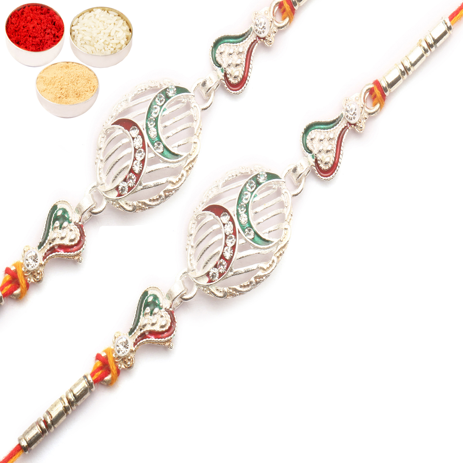 Set of 2 Z2K Silver Rakhis