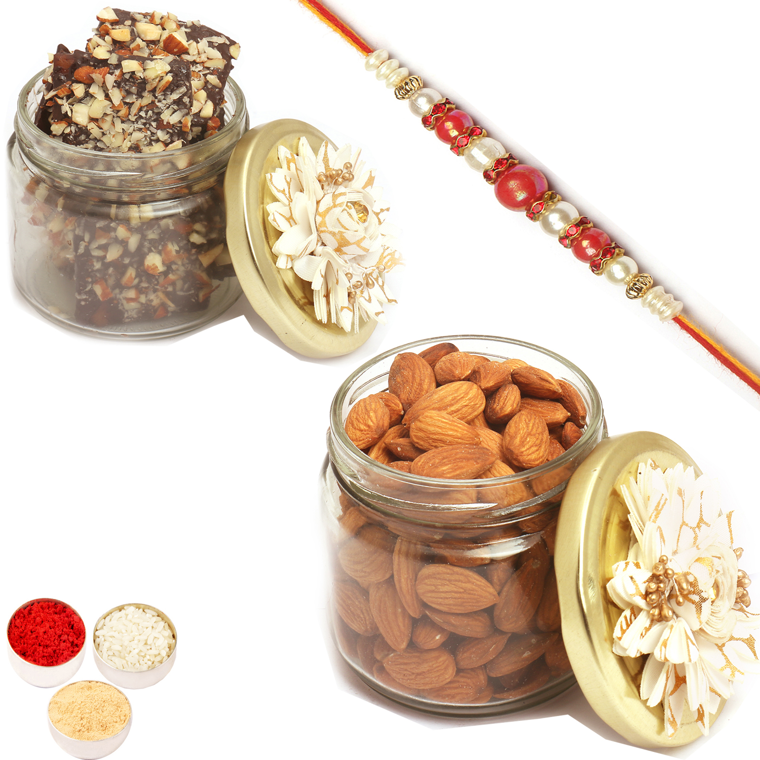 Almonds n Brittles Glass Jars with Red Pearl Rakhi