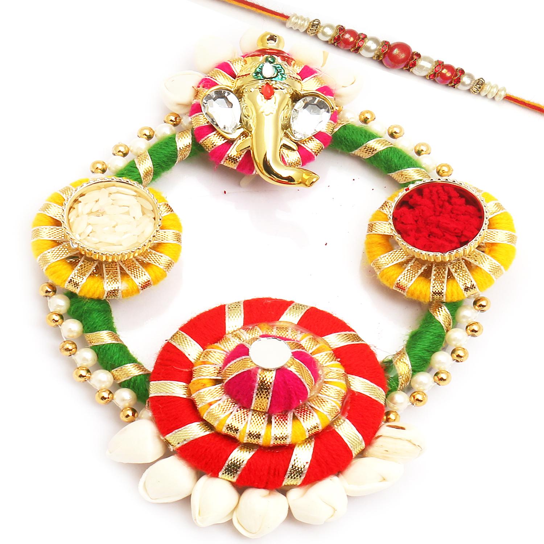 Colourful Acrylic Pooja Thali with Red Pearl Rakhi