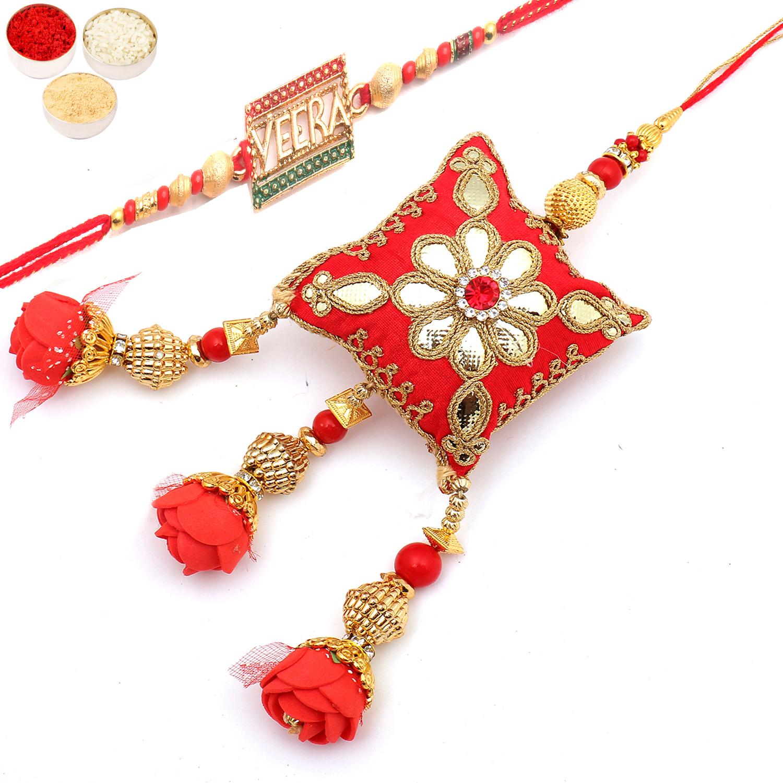 Bhaiya Bhabhi Rakhi, Rakhi, Shop By Occasion, Flowers, GiftsnFlowers, Roses of Galore Veera Bhaiya Bhabhi Rakhi
