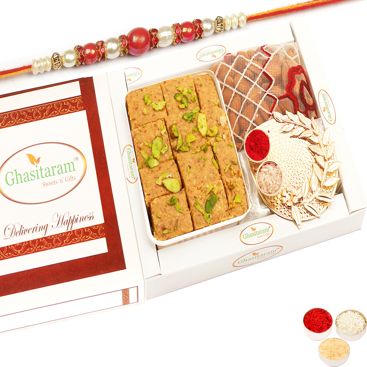 Besan Barfi, Pooja Thali and Almonds Pouch with Red Pearl Rakhi