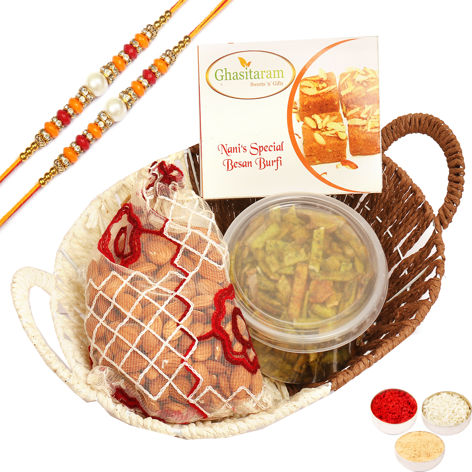 Big Metal Brown Basket Of Besan Barfi, Almonds Pouch and Palak Chips with 2 Pearl Diamond Rakhis
