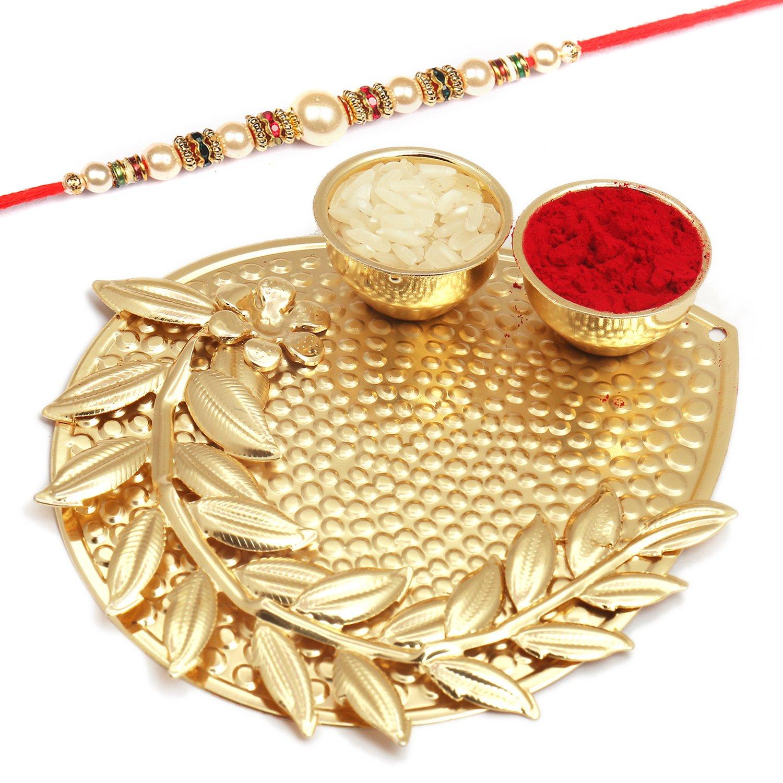 Mini Golden Metal Pooja Thali with Pearl Rakhi