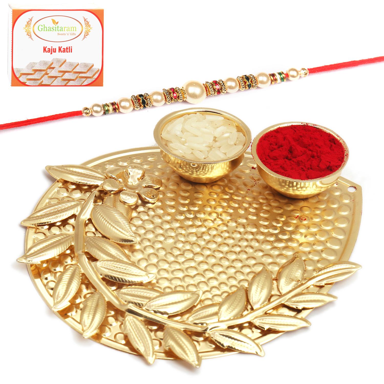 Mini Golden Metal Pooja Thali with Pearl Rakhi n 200Gm Kaju Katli