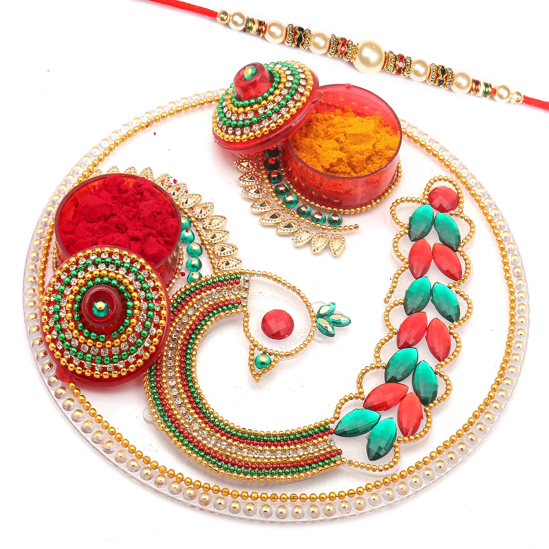 Designer Acrylic Pooja Thali with Pearl Rakhi