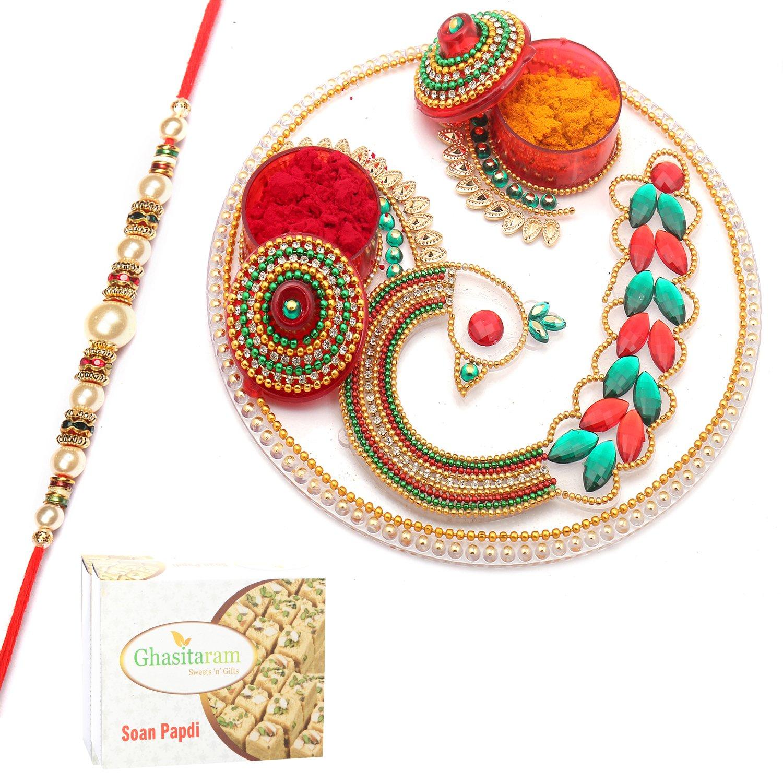 Designer Acrylic Pooja Thali with Pearl Rakhi n 200Gm Soan Papdi