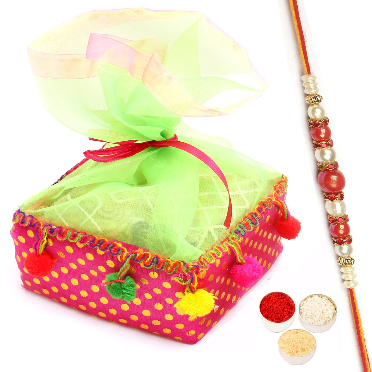 Colourful Almonds Pouch with Red Pearl Rakhi