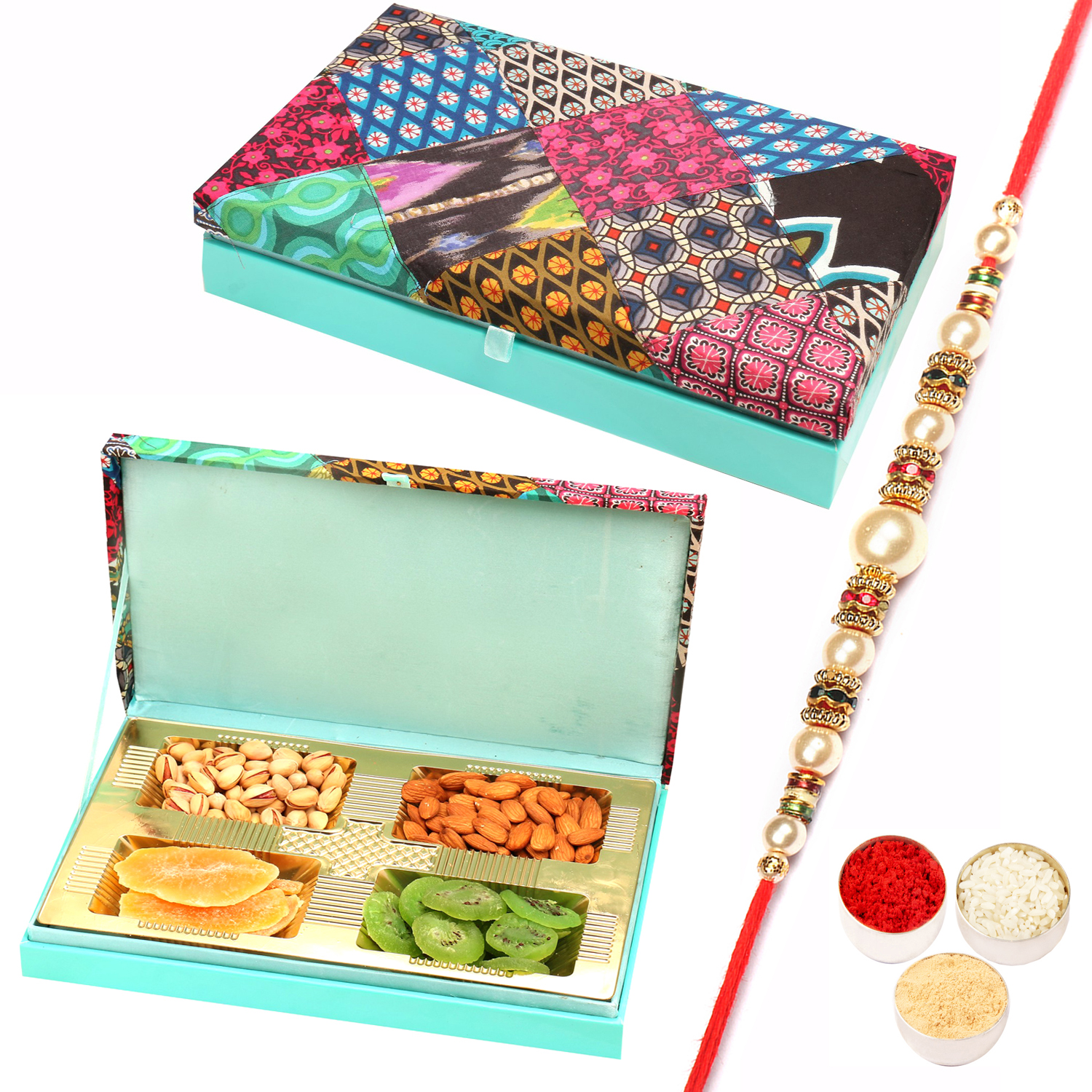 Festive Wooden Assorted Dryfruit Box 400Gm with Pearl Rakhi