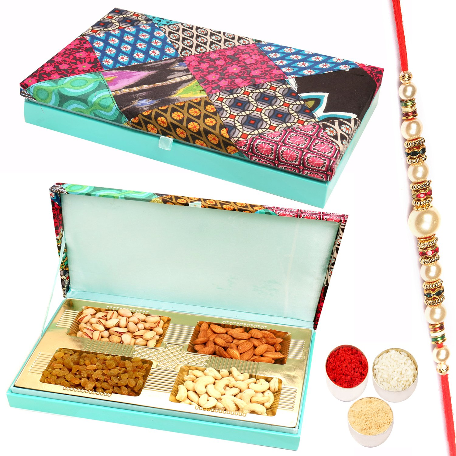 Festive Wooden Dryfruit Box 400Gm with Pearl Rakhi