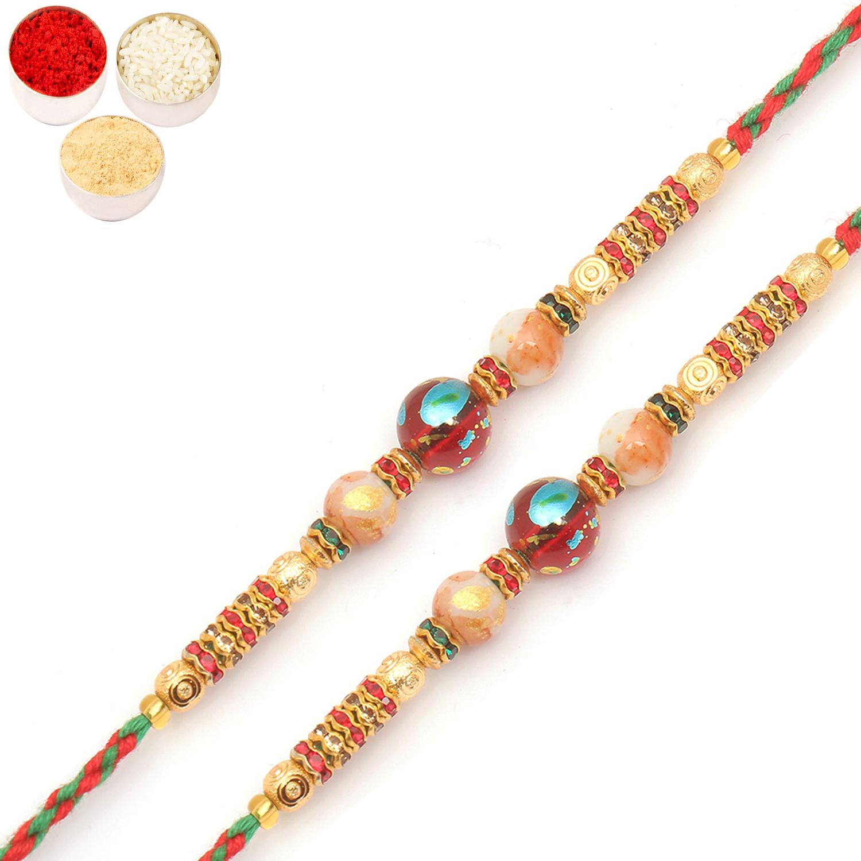 Set of 2 6871 Designer Fancy Thread Rakhis