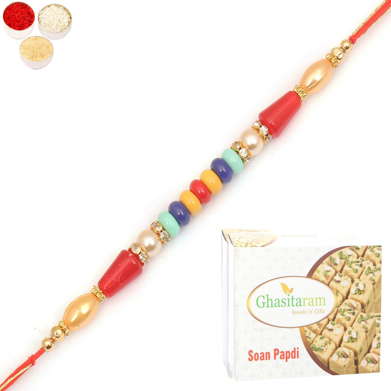 6959 Designer Fancy Thread Rakhi n 200Gm Soan Papdi