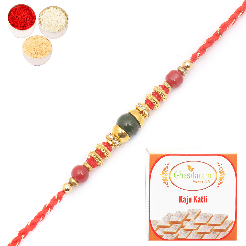 6976 Designer Fancy Thread Rakhi n 200Gm Kaju Katli