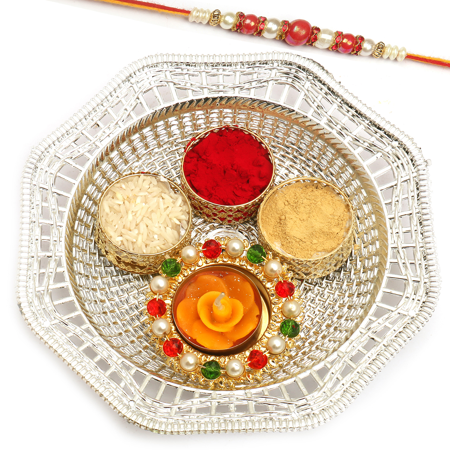 Silver Metal Look Pooja Thali with Red Pearl Rakhi