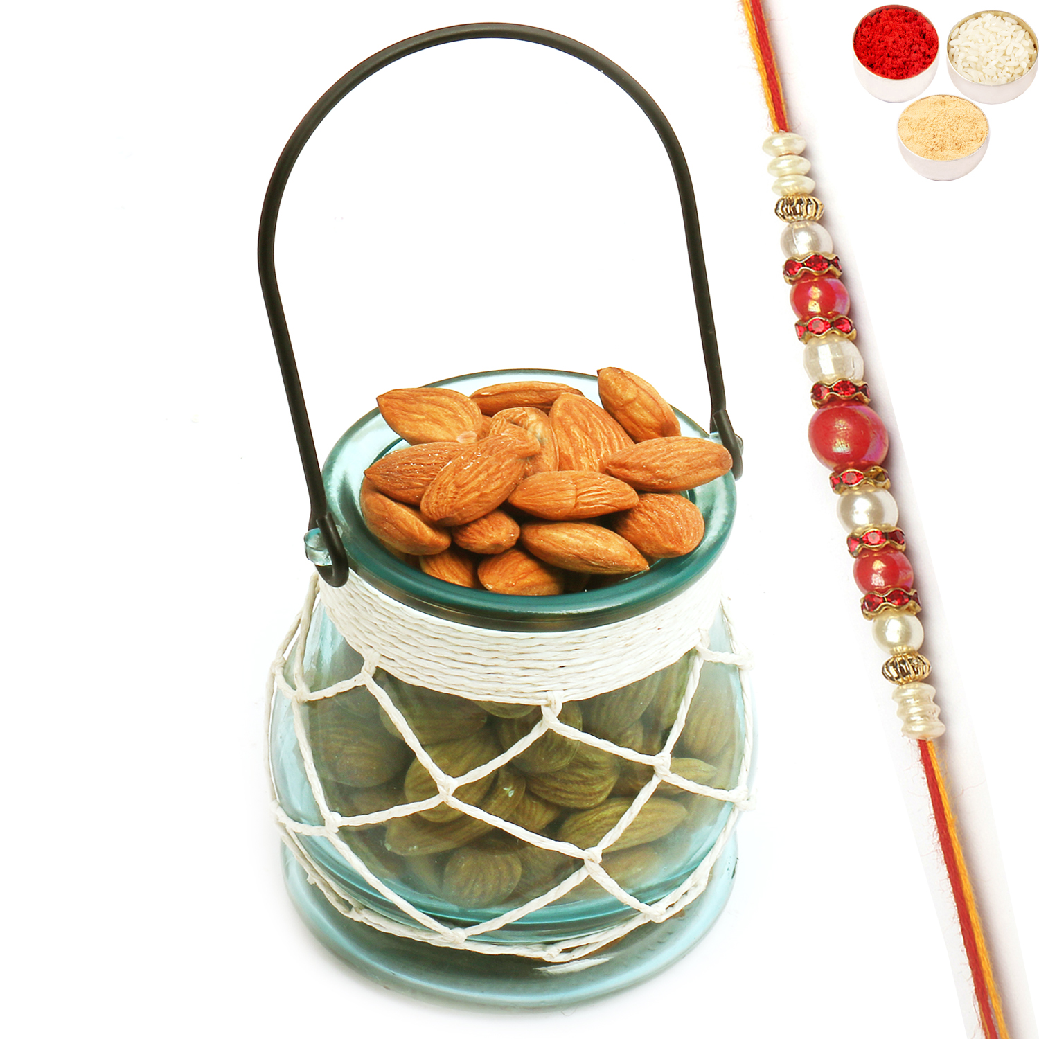 Glass T- Lite Holder with Almonds with Red Pearl Rakhi