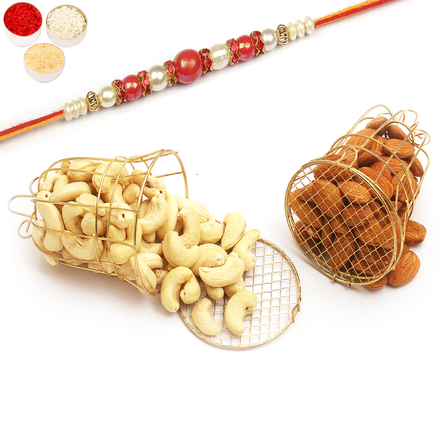 Golden Almonds and Cashews T-Lite Holders with Red Pearl Rakhi