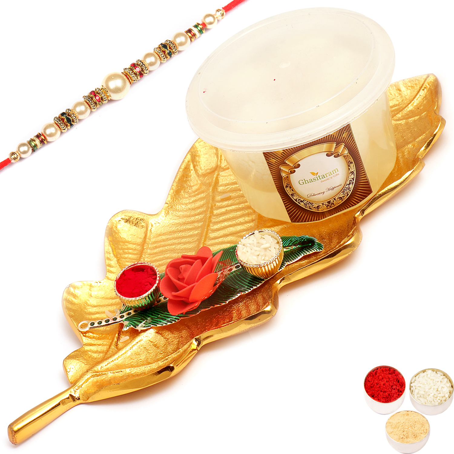Golden Leaf platter With Rasgullas and Green Leaf Roli Chawal Container  with Pearl Rakhi