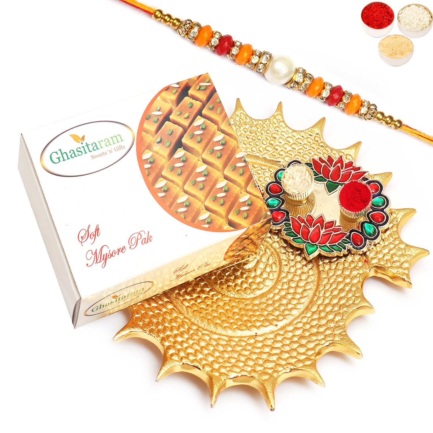 Golden Shell Platter With Mysore Pak and Lotus Pooja Thali with Pearl Diamond Rakhi