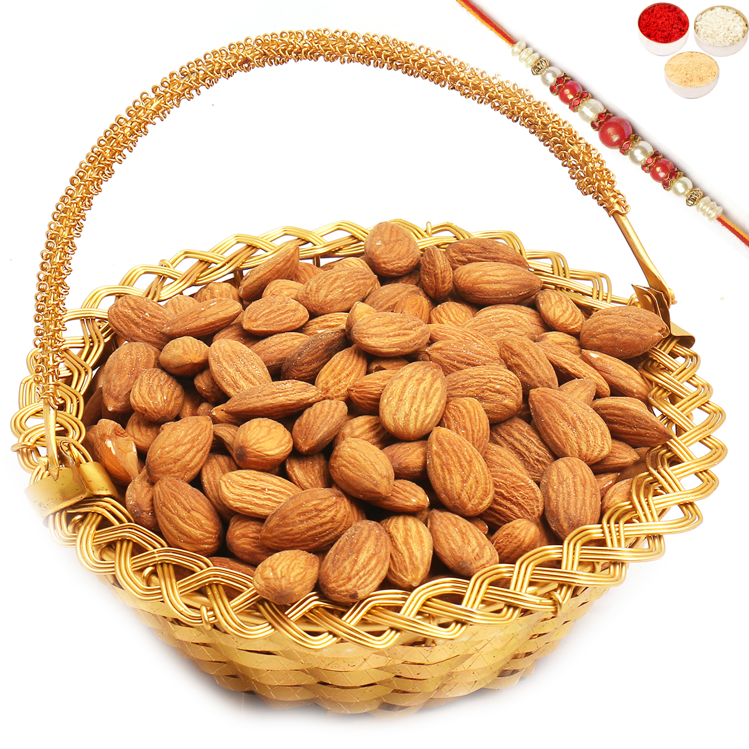 Golden Small Metal Basket filled with Almonds with Red Pearl Rakhi
