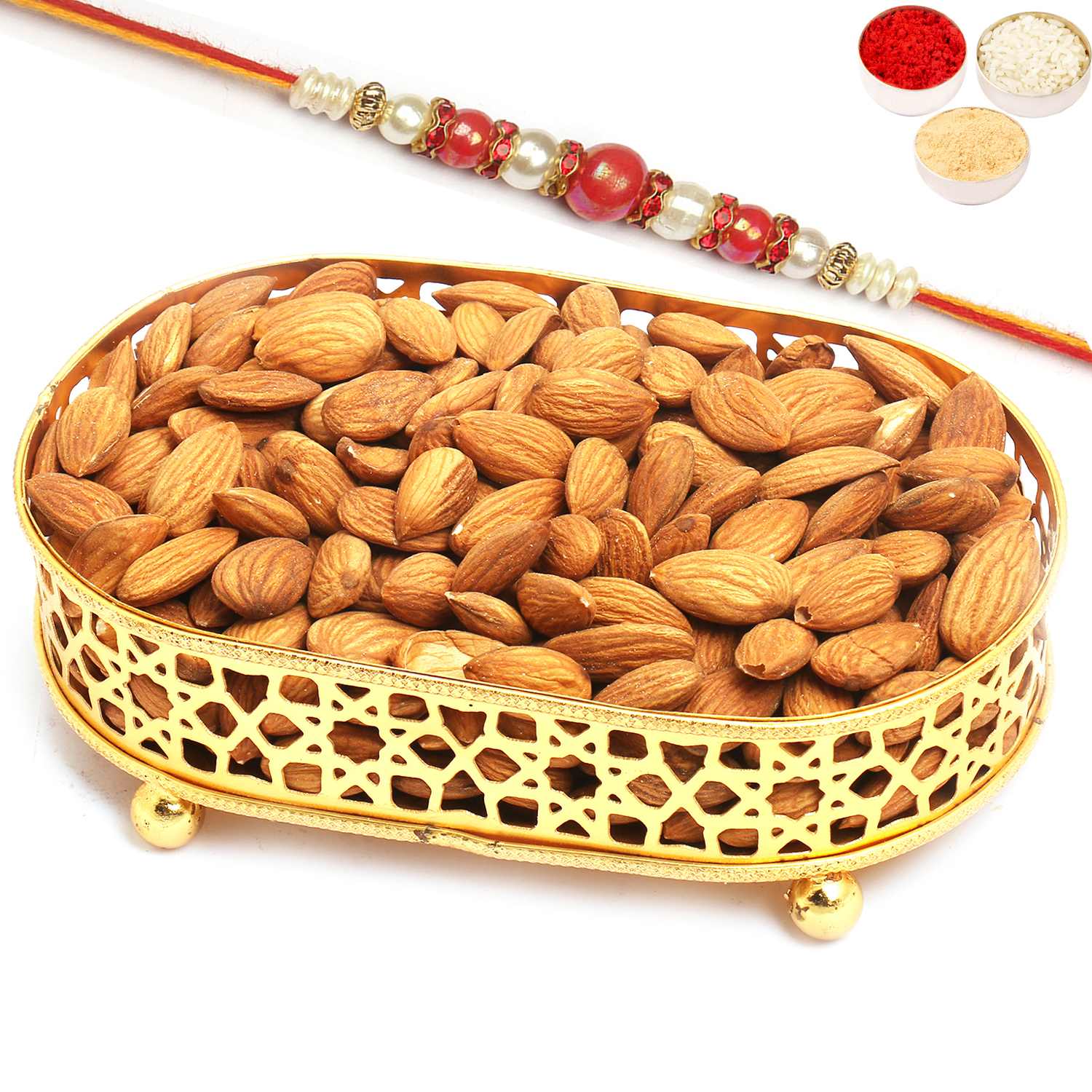 Golden Small Metal Tray filled with Almonds with Red Pearl Rakhi