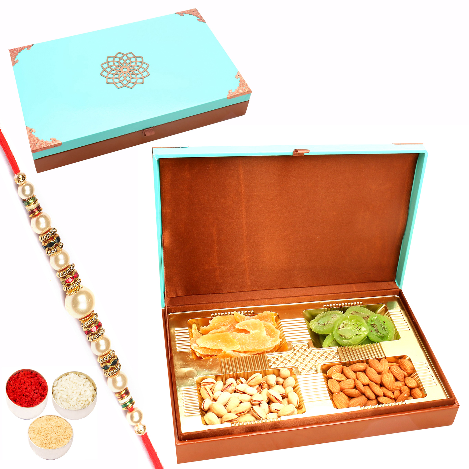 Green Wooden Assorted Dryfruit Box 400Gm with Pearl Rakhi