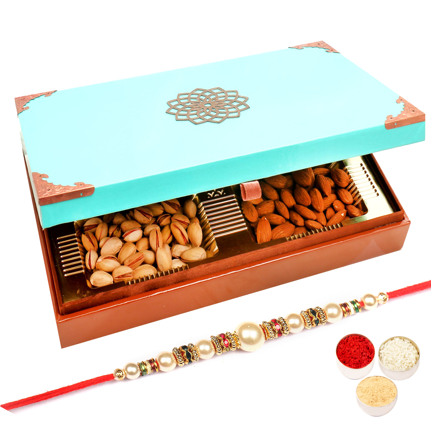 Green Wooden Dryfruit Box 400Gm with Pearl Rakhi