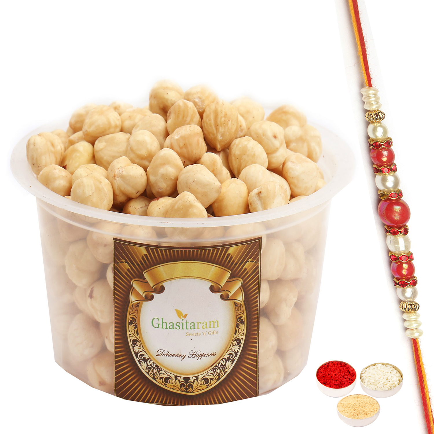 Hazelnuts 200Gm with Red Pearl Rakhi