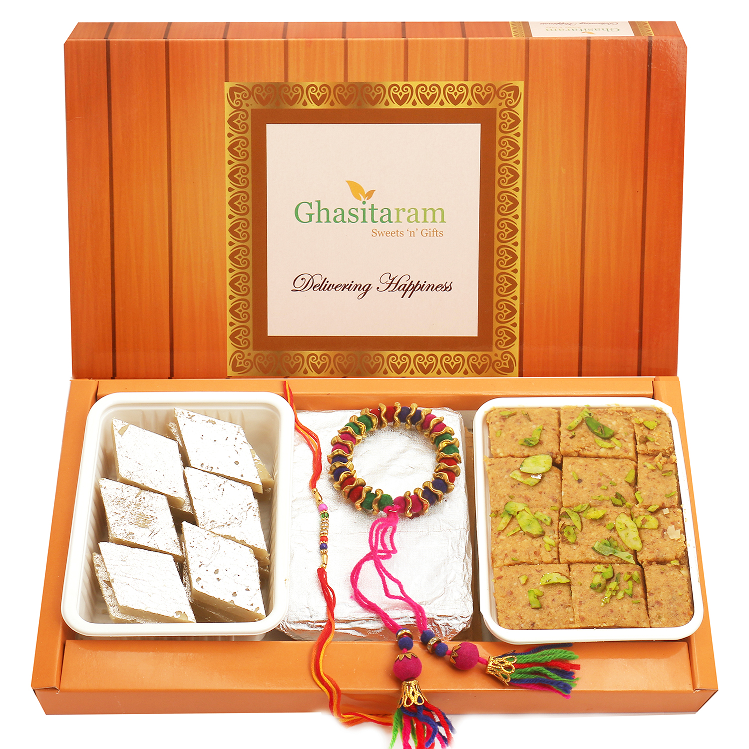 Kaju Katli, Besan Barfi, Pooja Thali and Wools of Bonding Bhaiya Bhabhi Rakhi