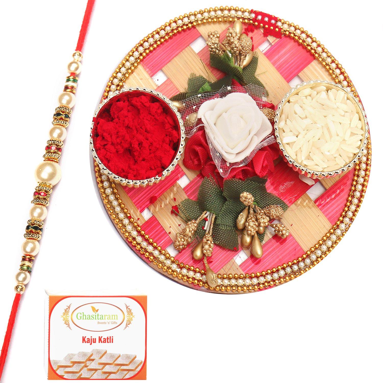 Pink Cane Pooja Thali with Pearl Rakhi n 200Gm Kaju Katli