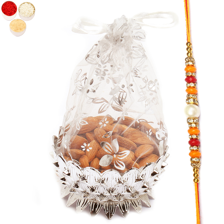 Net Pouch Almonds Bowl with Pearl Diamond Rakhi