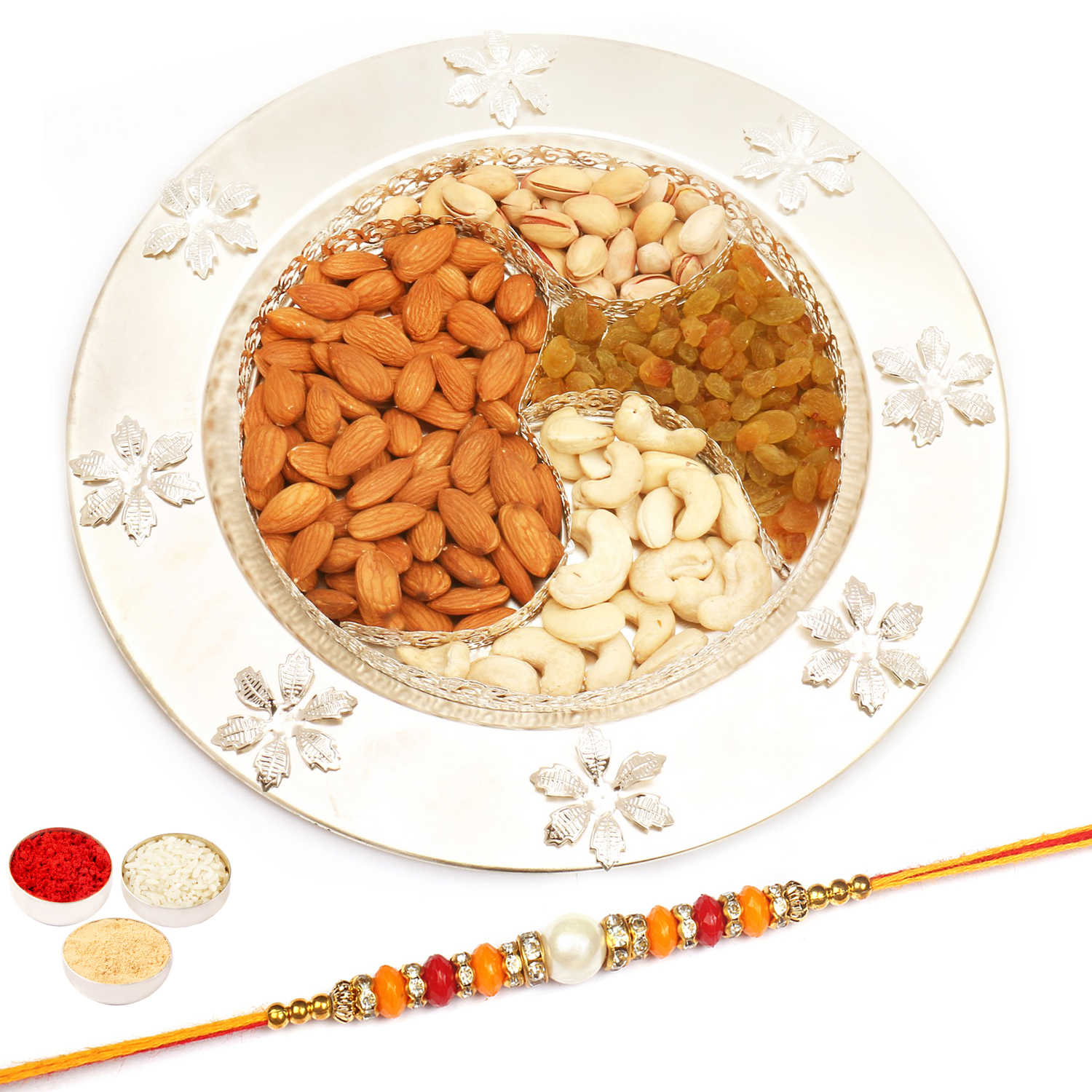 Om Dryfruit Thali with Pearl Diamond Rakhi