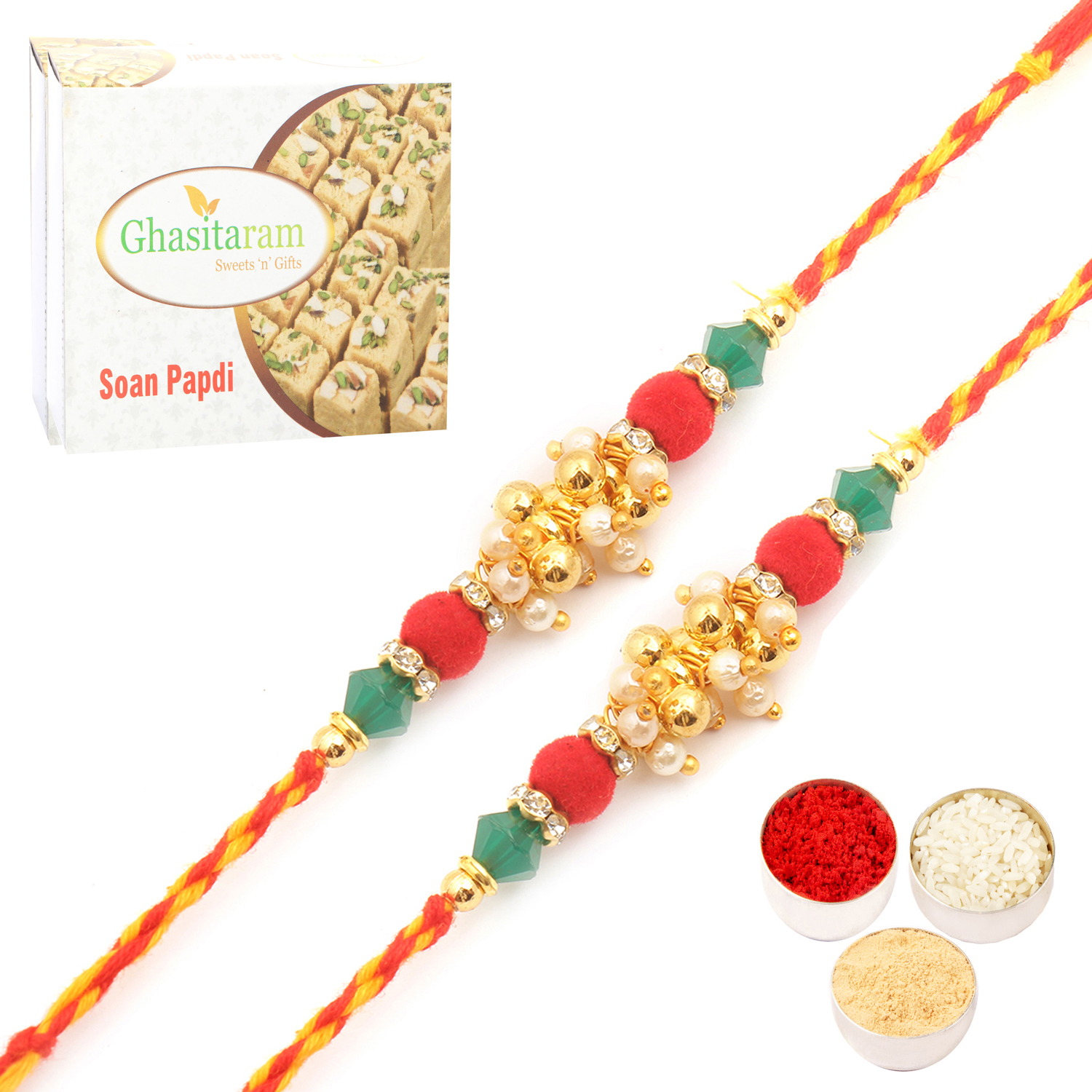 Set of Two 7686 Pearl Rakhi For Brother n 200Gm Soan Papdi