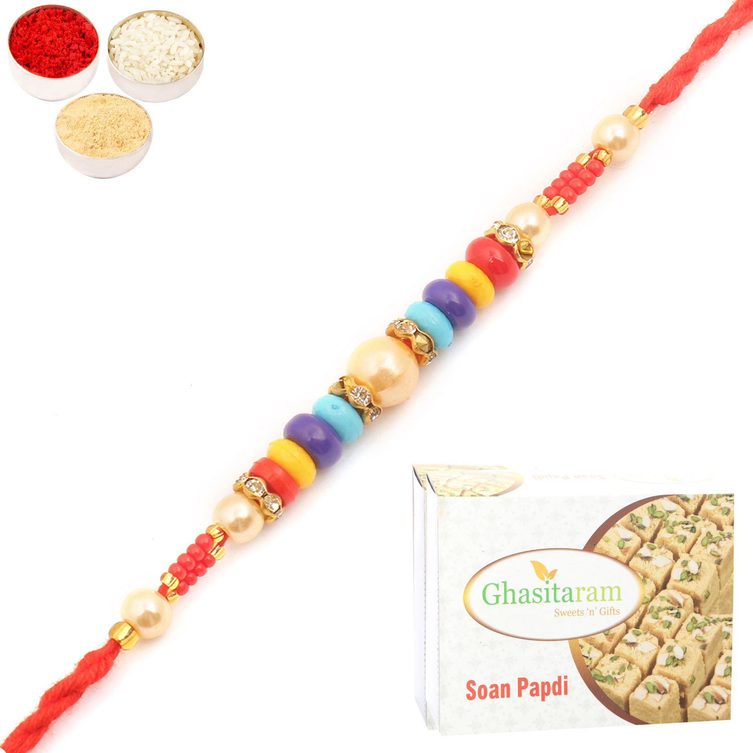MMR73 Pearl Rakhi For Brother n 200Gm Soan Papdi
