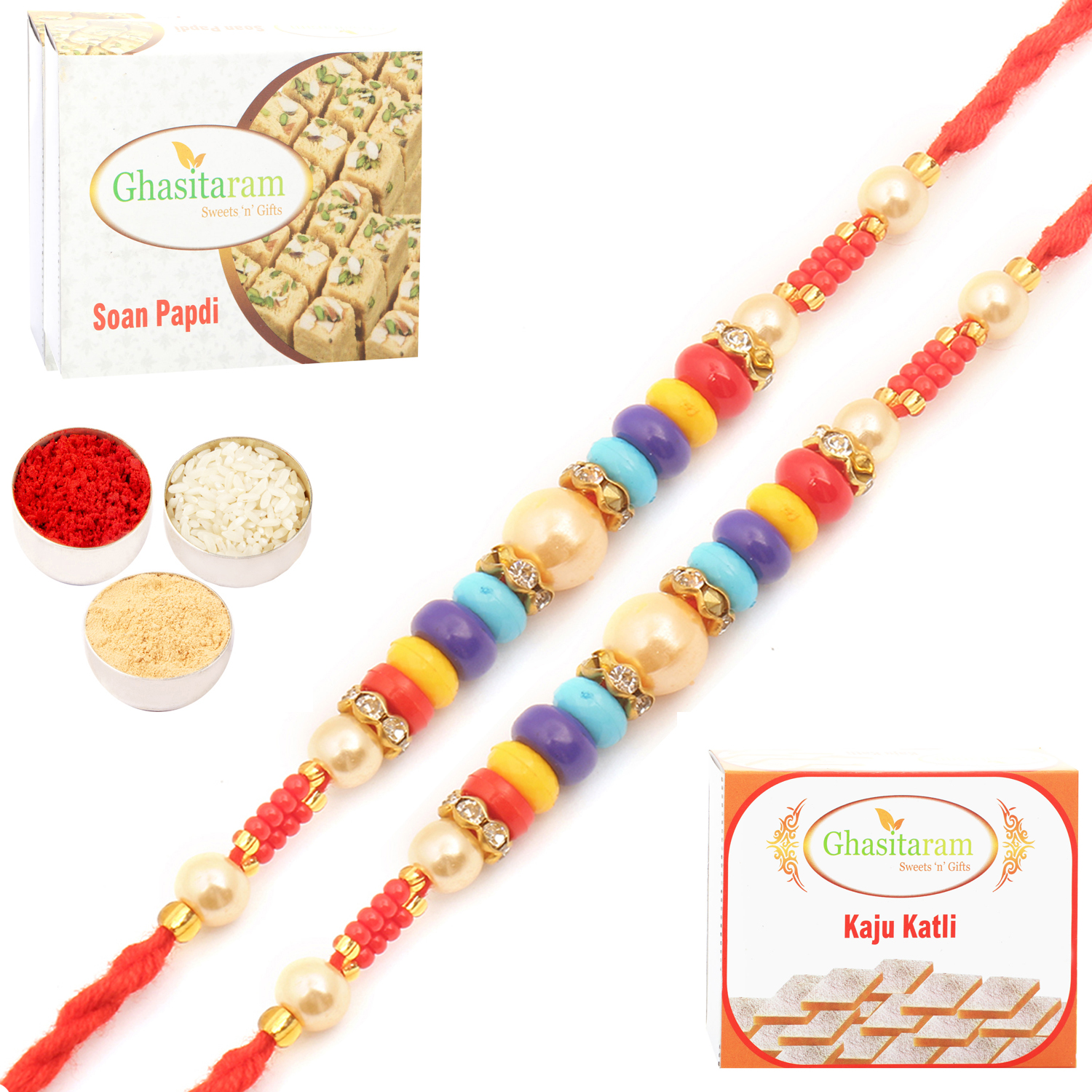 Set of Two MMR73 Pearl Rakhi For Brother n 200Gm Kaju Katli