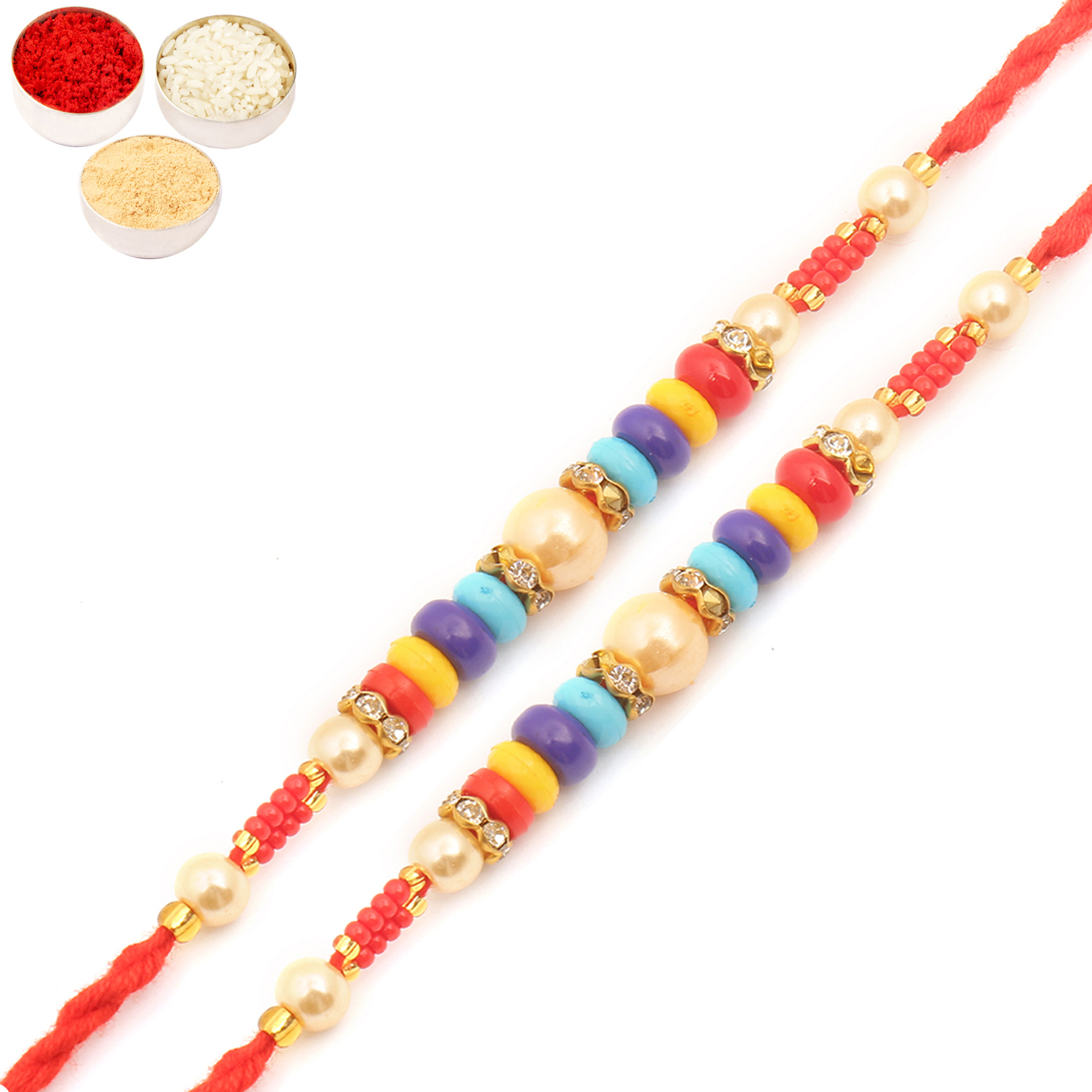 Set of Two MMR73 Pearl Rakhi For Brother