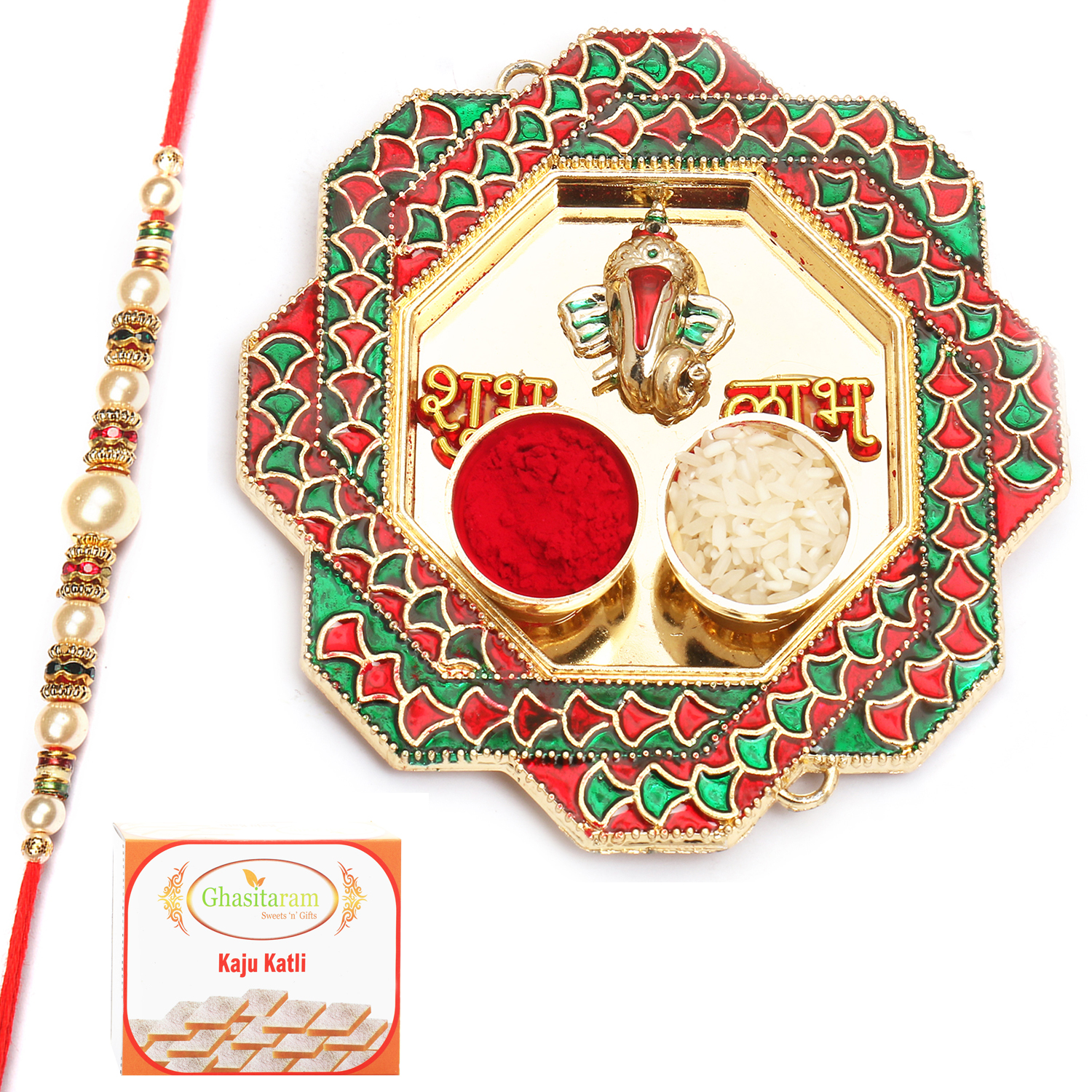 Hexagon Mina Pooja Thali with Pearl Rakhi n 200Gm Kaju Katli