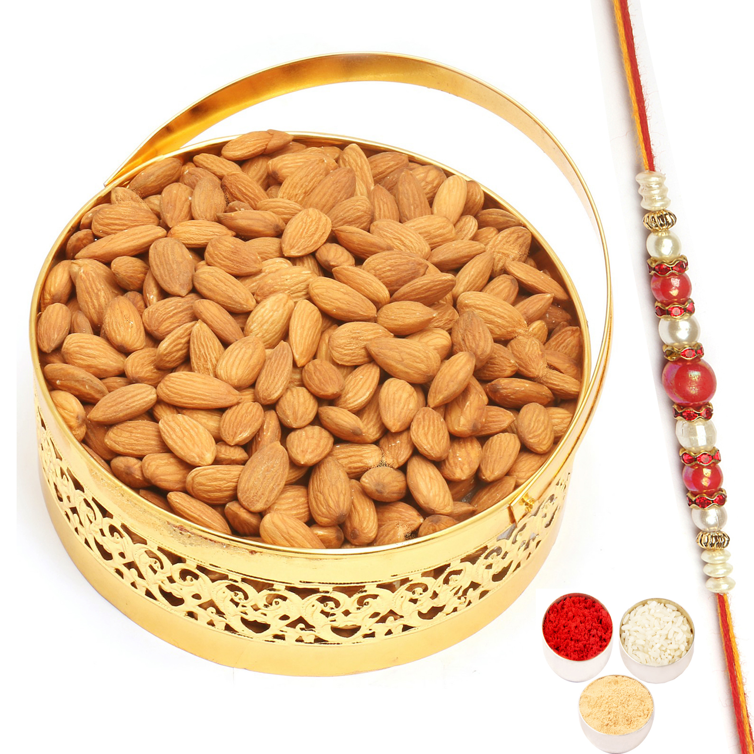 Round Golden Almonds Basket with Red Pearl Rakhi