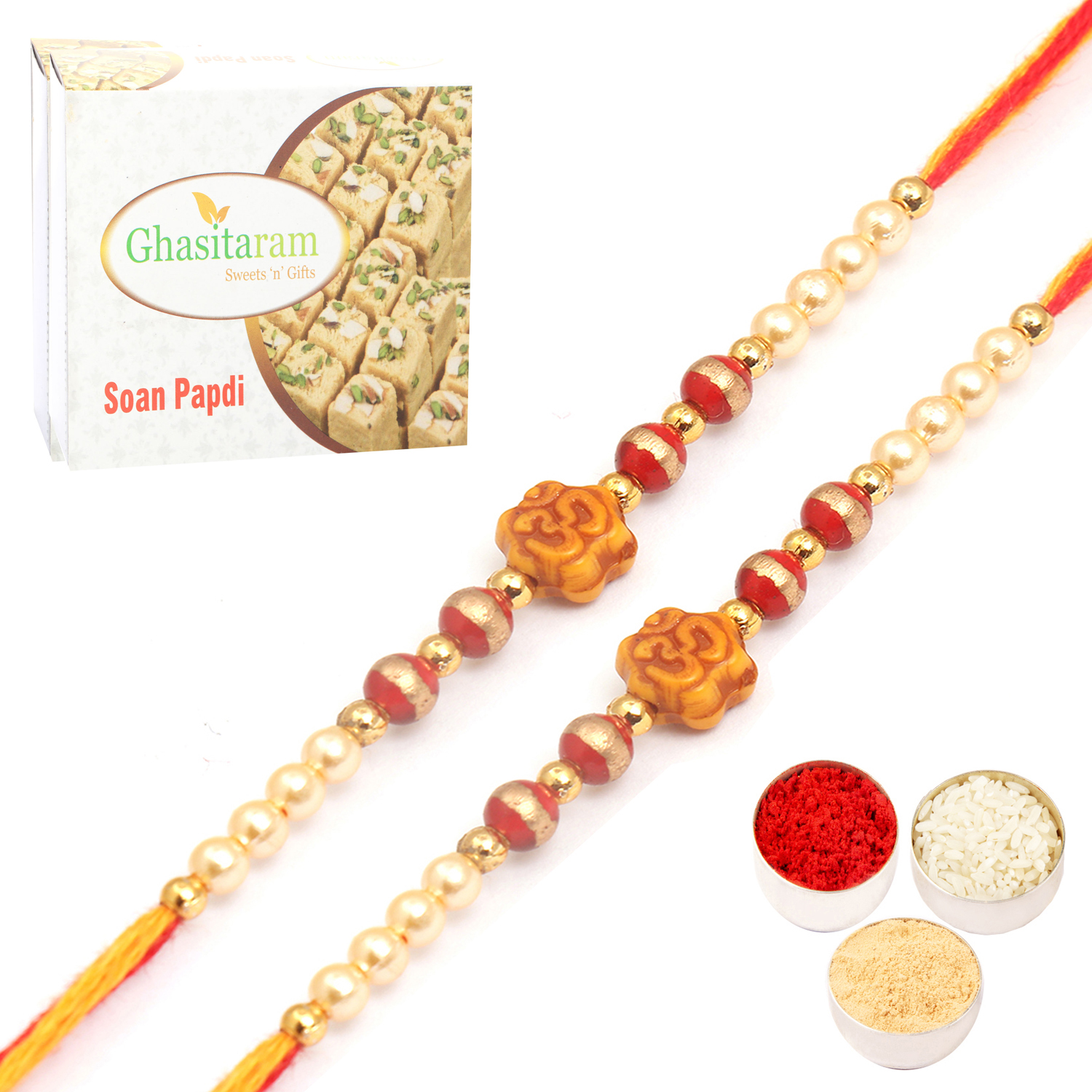 Set of Two 6043 Thread Rakhis with 200Gm Soan Papdi