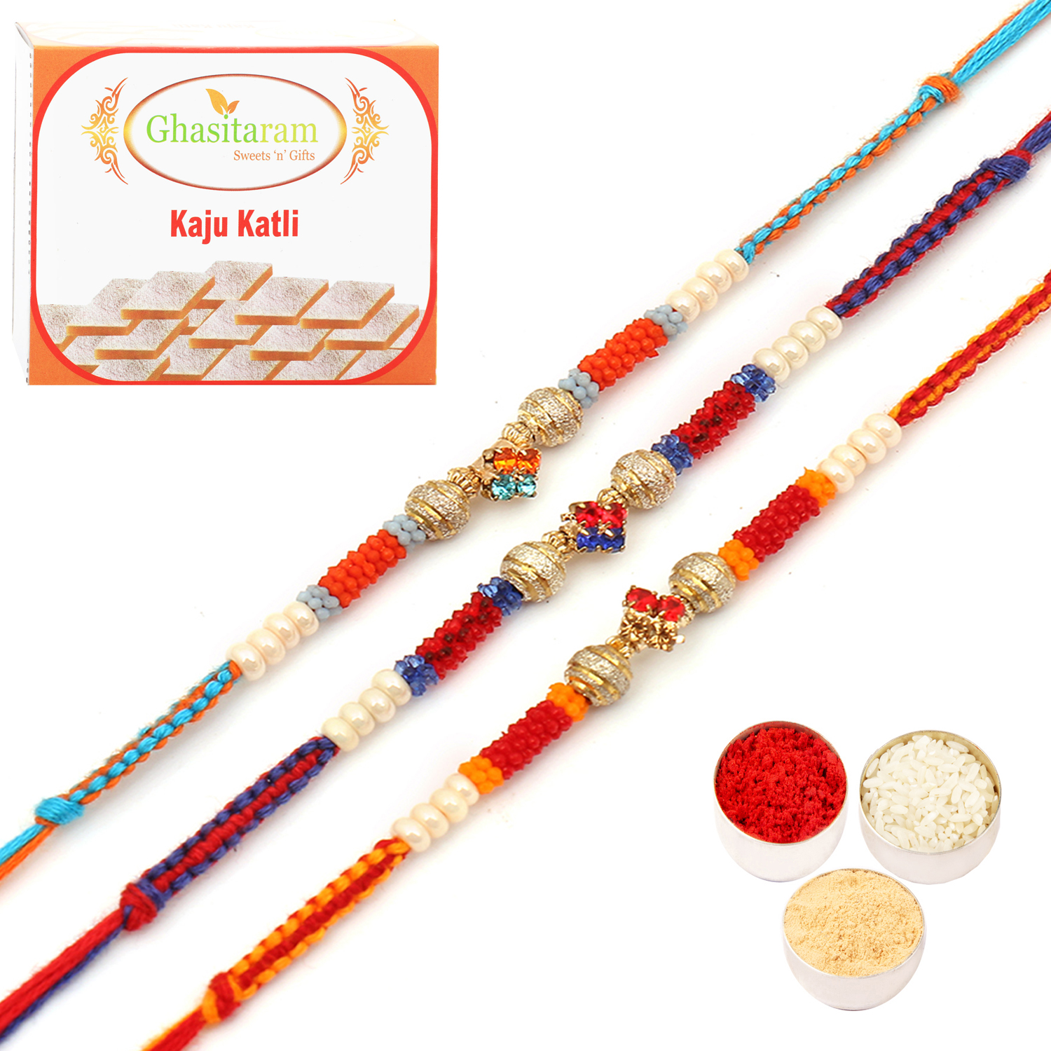 Set of 3 MBH313 Rakhis with 400Gm Kaju Katli