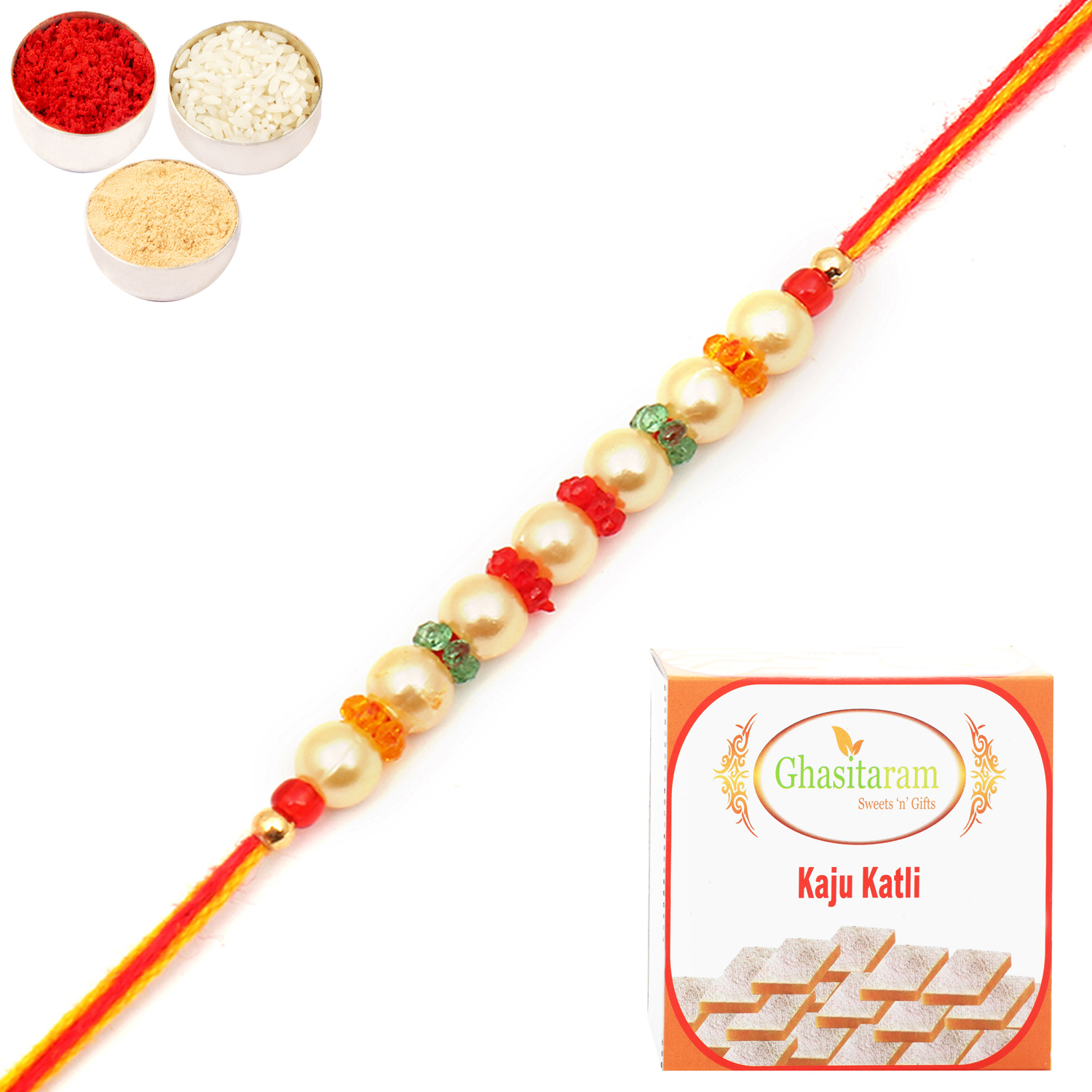 6042 Pearl Rakhi For Brother n 200Gm Kaju Katli