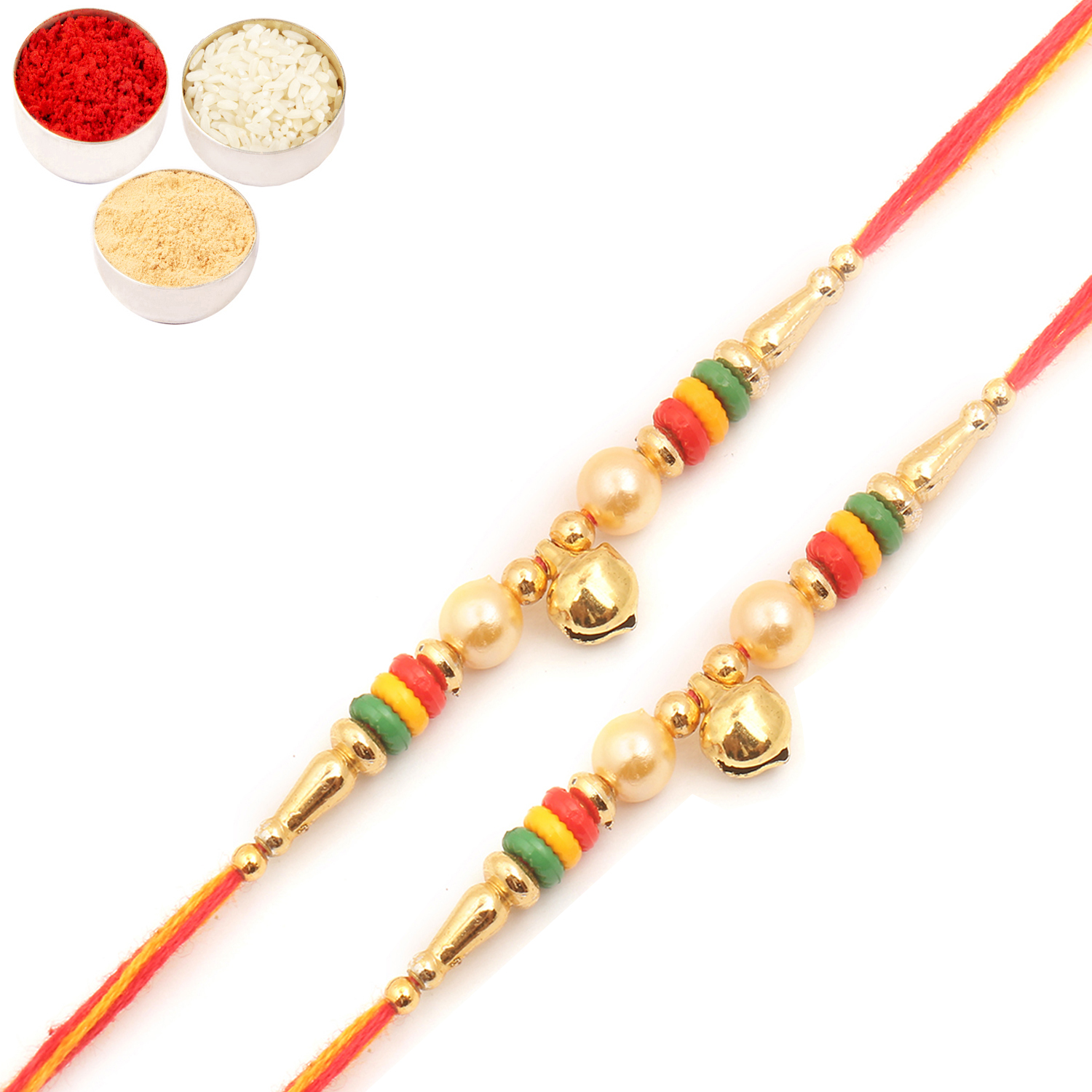 Set of Two 6149 Pearl Rakhi For Brother