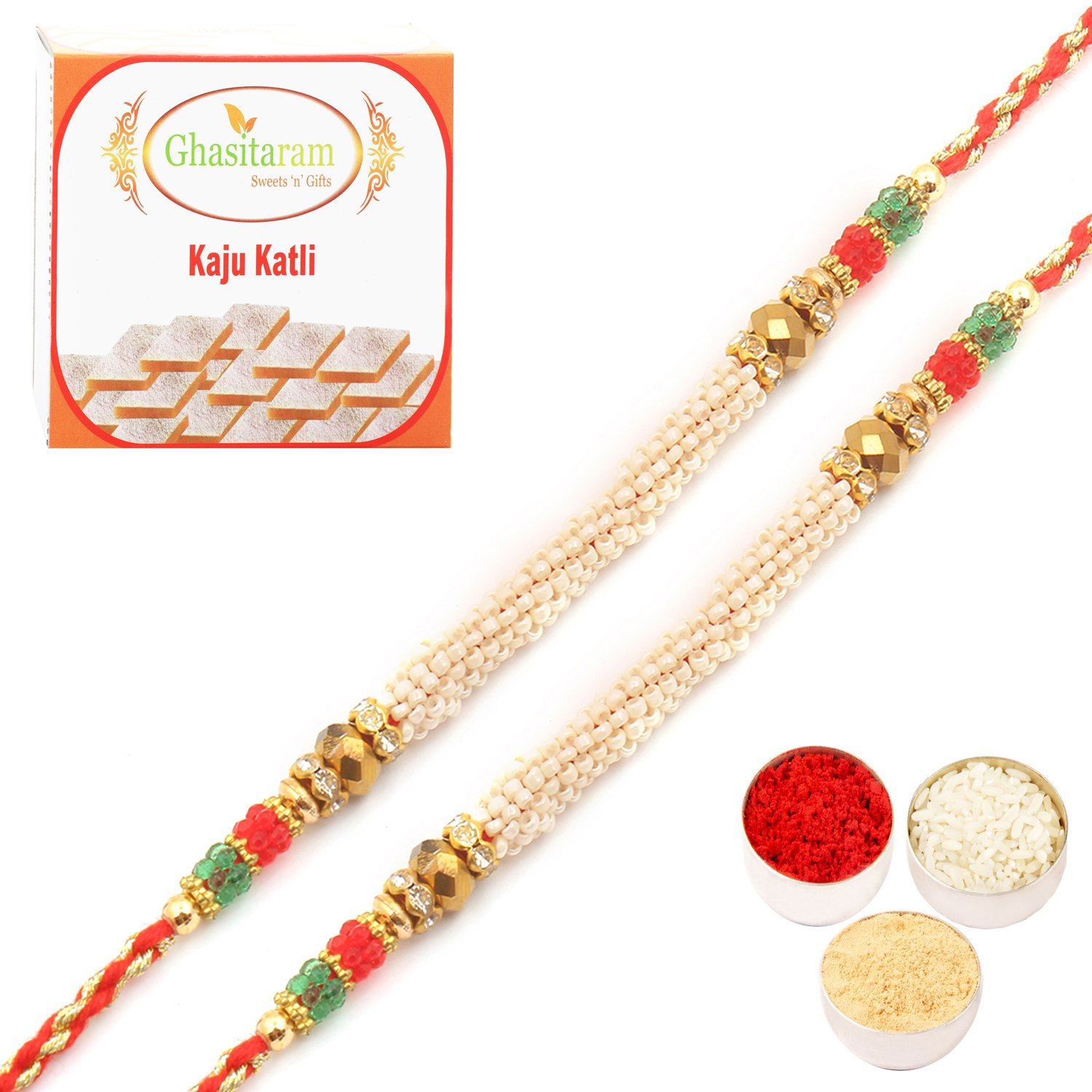 Set of Two 6980 Pearl Rakhi For Brother n 200Gm Kaju Katli