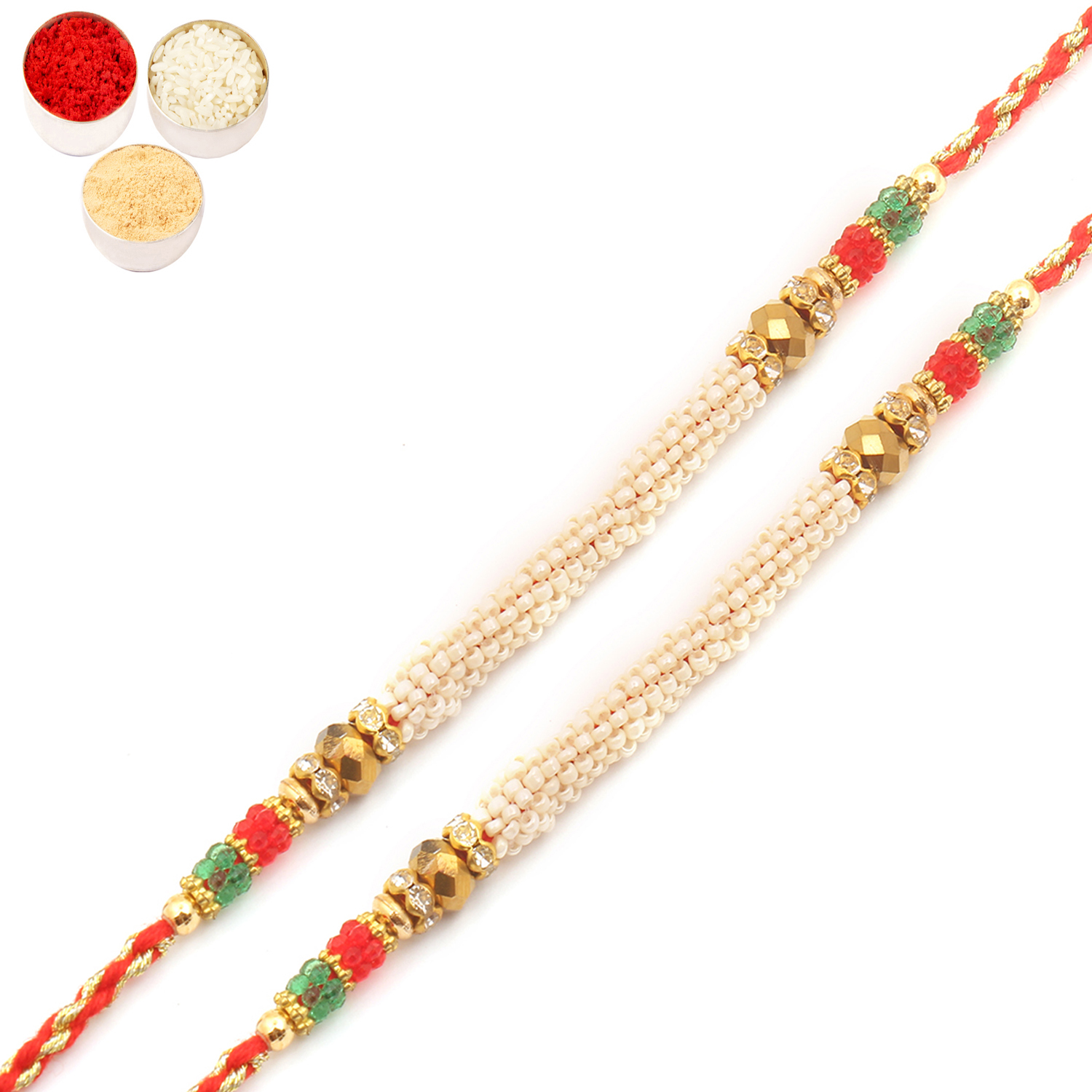 Set of Two 6980 Pearl Rakhi For Brother
