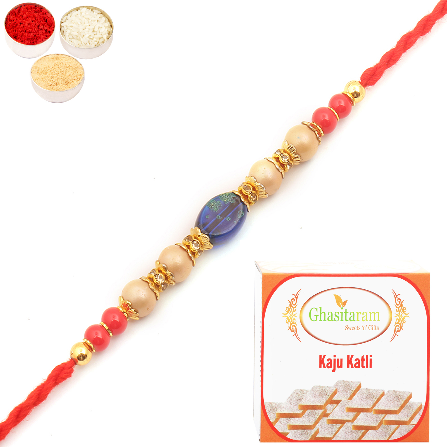 6860 Pearl Rakhi For Brother n 400Gm Kaju Katli