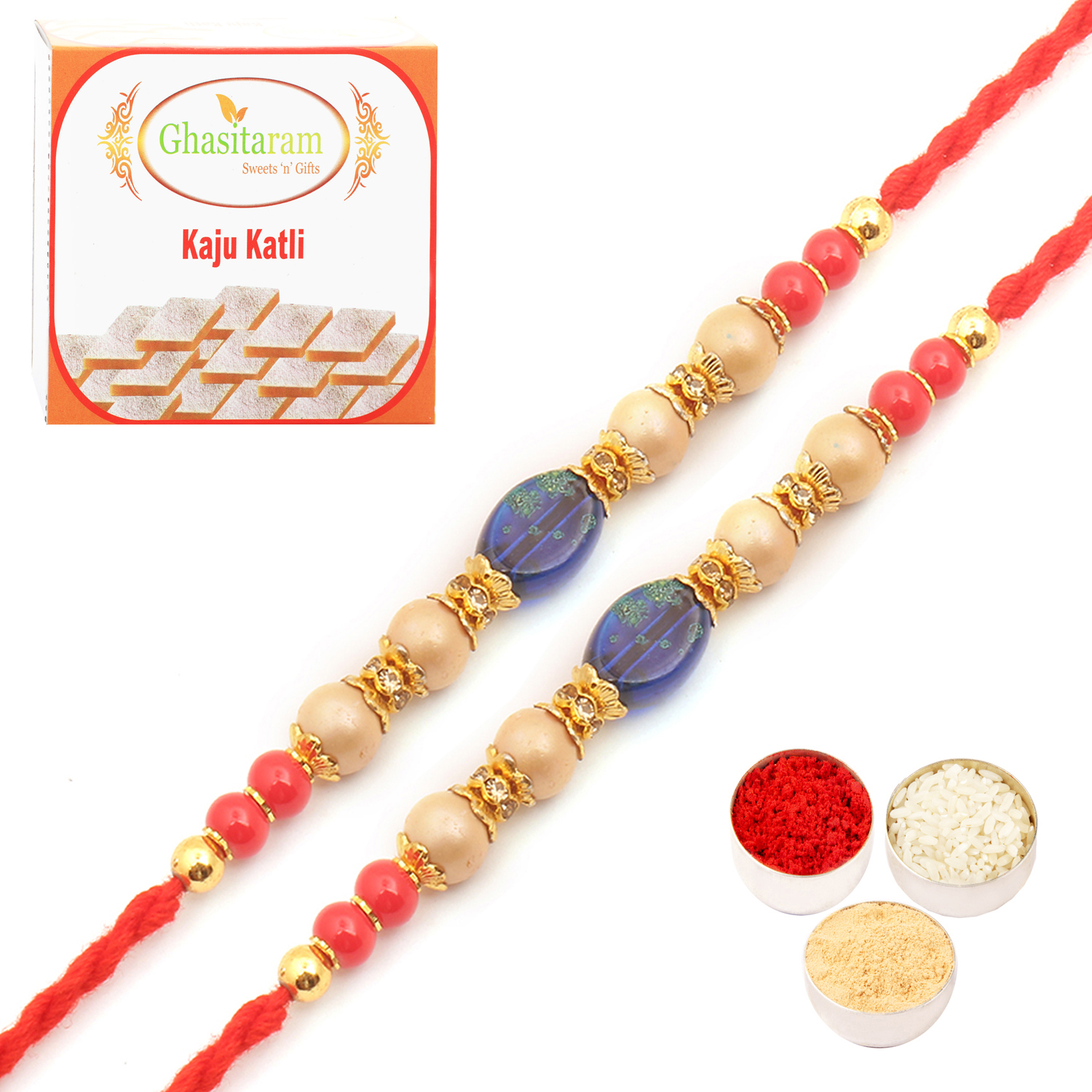Set of Two 6860 Pearl Rakhi For Brother n 200Gm Kaju Katli