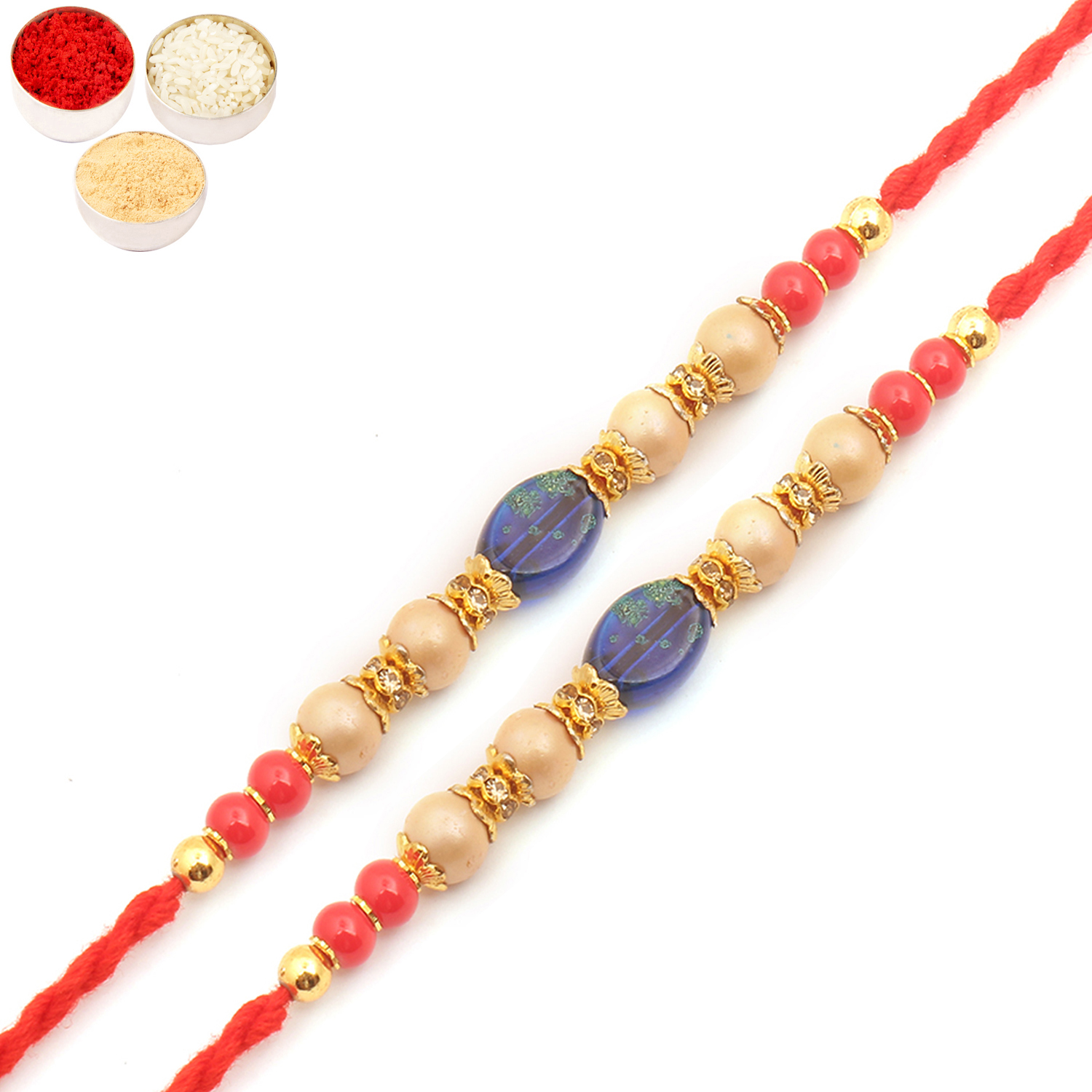 Set of Two 6860 Pearl Rakhi For Brother