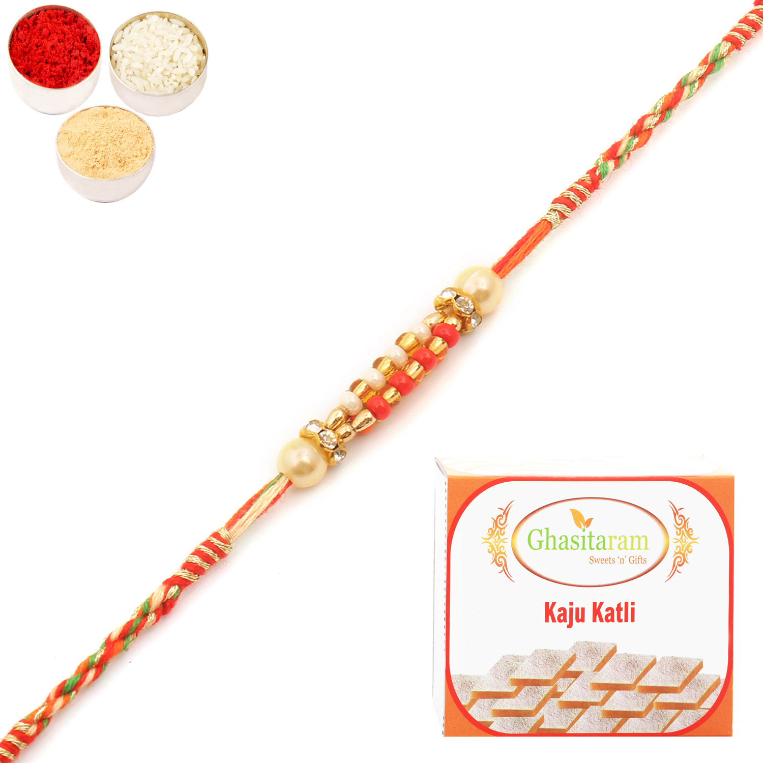 9710 Pearl Rakhi For Brother n 200Gm Kaju Katli