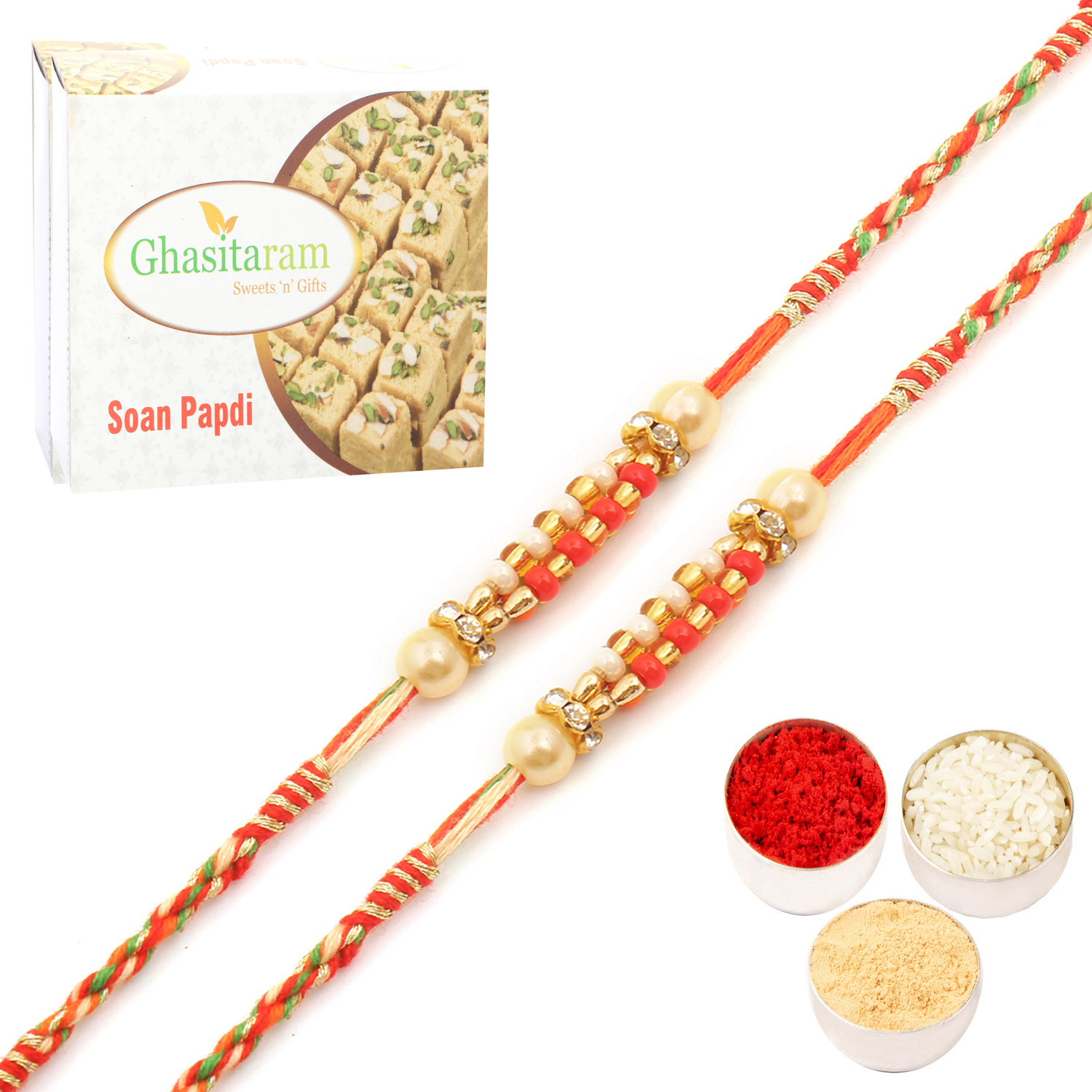 Set of Two 9710 Pearl Rakhi For Brother n 200Gm Soan Papdi